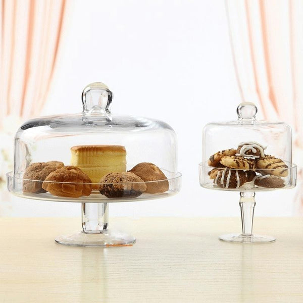 Transparent candy dish cover fruit plate Afternoon tea cake cover glass cover West Point tray Cake plate fruit dessert plate