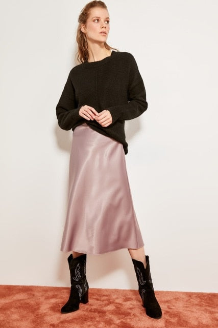 Trendyol Mink Mustard Silk Satin High-waist Women Knee-length Skirt Chic Style TOFSS19WX0013 - Slabiti