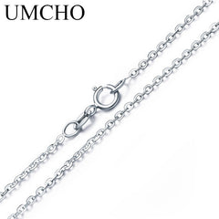 UMCHO Free Shipping Real 925 Sterling Silver Italy Cable Chain Necklace 18 inch/ 45 cm Chain For Women Fine Jewelry For Women - Slabiti