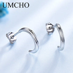 UMCHO Solid 925 Sterling Silver Stud Earrings For Women Wedding Engagement Party Earrings For Girl Fashion Style Fine Jewelry - Slabiti