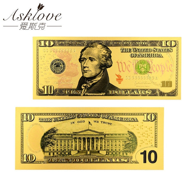 US Gold Foil Banknote America Fake Banknotes US Dollar Banknotes 24K Gold Plated Fake Currency Money Souvenir Collection Gifts - Slabiti