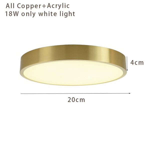 Ultra-thin 4cm led ceiling light Round 20-50cm all copper lampbody luxury living room bedroom study room indoor lighting fixture
