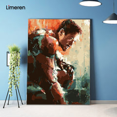 Unframed Picture On Wall Acrylic Coloring By Numbers DIY Painting By Numbers Unique Gift Oil Painting The Avengers iron man - Slabiti
