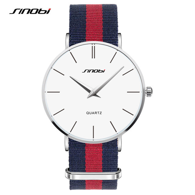 Unisex Fashion Wristwatches NATO Strap Durable Nylon Strap SINOBI Top Luxury Brand Fashion Geneva Ultra thin Quartz Clock Watch - Slabiti
