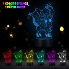 VCity Novelty Pokemon Game Eevee Sylveon Led Lights Night Light 3D Lamp Kawaii Cartoon USB Christmas Gifts for Kids Toy Change - Slabiti