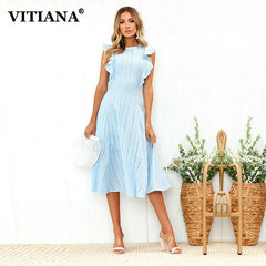 VITIANA Women Office Casual Maxi Long Midi A-Line Dress Female 2018 Summer White Blue Solid Lace Sleeveless Elegant Party Dress - Slabiti
