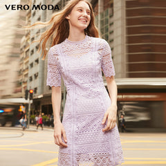Vero Moda 2019 Spring Round Neckline Elbow Sleeves Lace Dress | 31916Z511 - Slabiti
