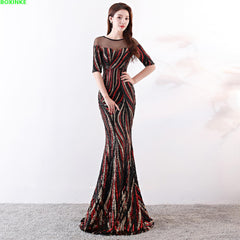 Vestidos Mujer Half Mesh Lanon Special Offer Vadim Zanzea Maxi Dress Autumn  New Party Sexy Nightclub Sequins Long Fishtail - Slabiti