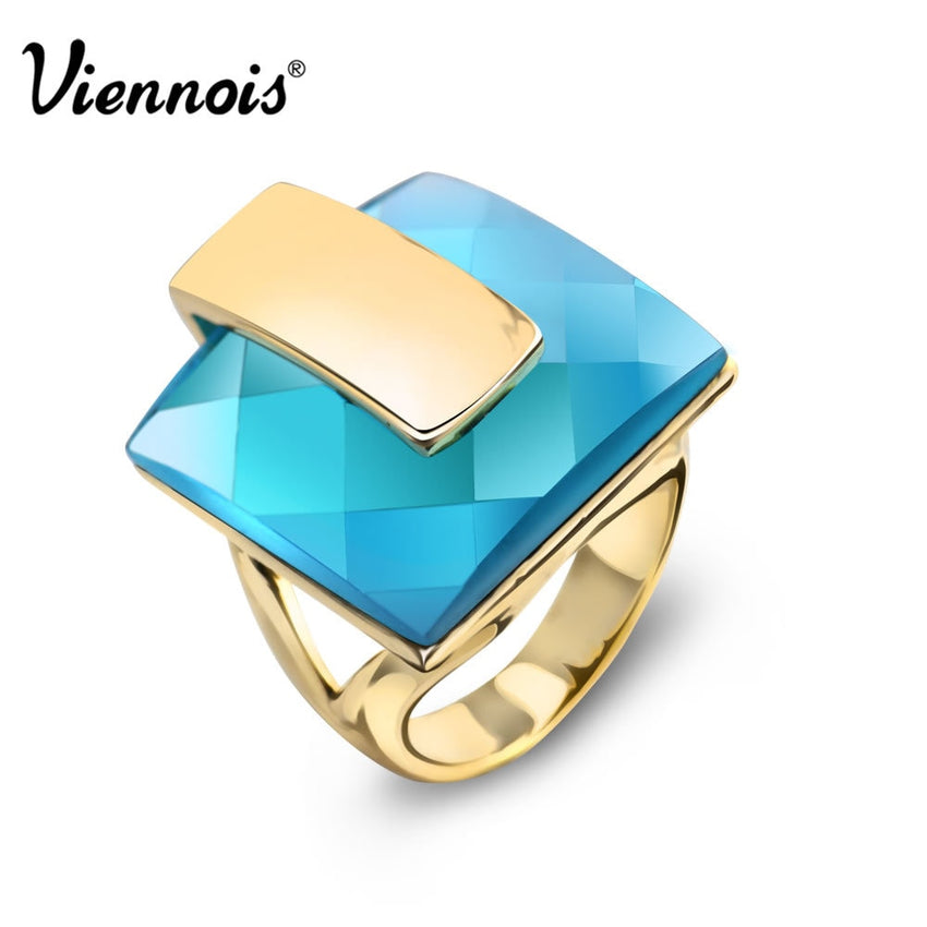 Viennois Brand Gold Color Blue Crystal Rings For women Square Ring Size 6# 7# 8# New Fashion Jewelry - Slabiti
