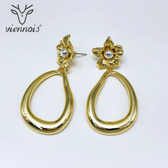Viennois Dangle Earrings For Women in Exclusive Lrregular Flower Design Multicolor  Female Metallic  Party Jewelry - Slabiti