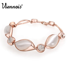 Viennois Elegant Rose Gold Color Cat-eye' S Stone Bracelet & Bangles For women Chain Opal Bracelet Trendy Wedding Jewelry - Slabiti