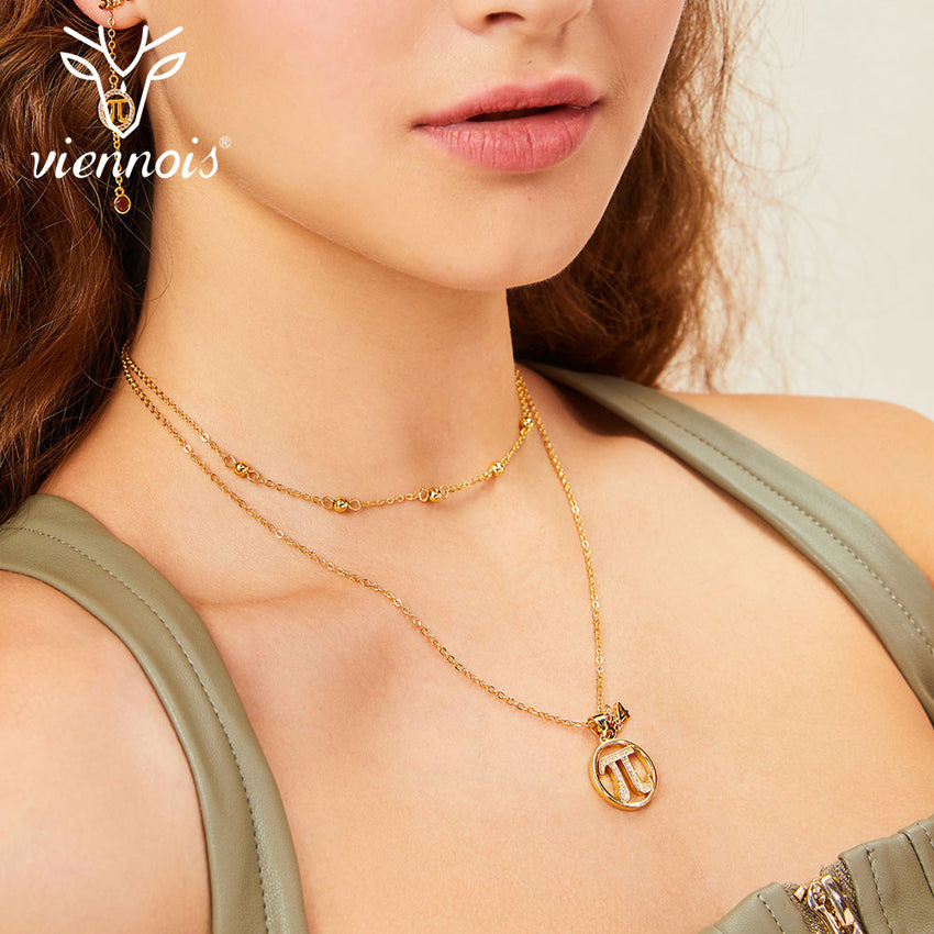 Viennois Gold Color Rhinestone Mathematics Crystal Necklace For women Party Jewelry 2019 - Slabiti