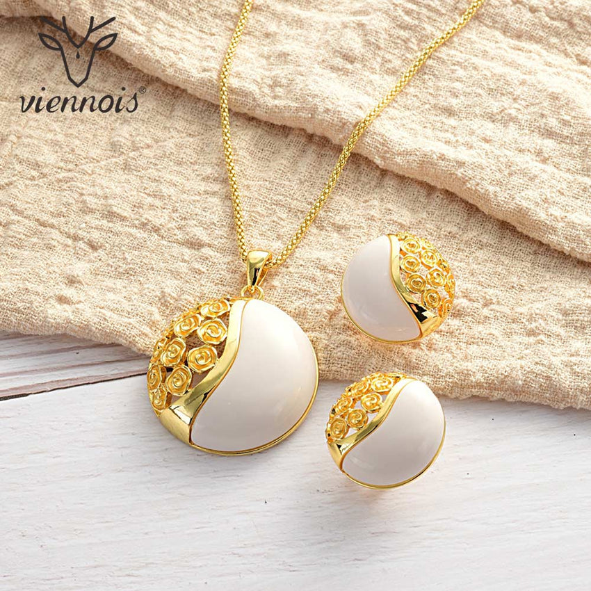 Viennois Jewelry Set For Women Gold Color Round Opal Design Necklace Stud Earrings Party Jewelry - Slabiti