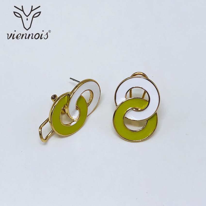 Viennois New Enamel Dangle Earrings For Women in Exclusive Round Design Mixcolor Metallic Party Jewelry 2019 - Slabiti