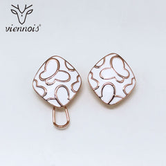 Viennois New Enamel Stud Earrings For Women in Exclusive Square Design White Color Female Metallic Earrings Party Jewelry - Slabiti