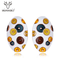 Viennois New Enamel  Stud Earrings in Exclusive Design Lrregular Earrings Female Metallic Earrings Party Jewelry - Slabiti