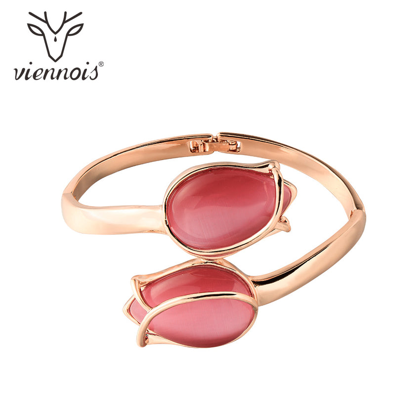 Viennois Rose Gold Color Red Tulip Bracelet & Bangles For Women Fashion Opals Wedding Party Bracelet & Bangles Jewelry - Slabiti