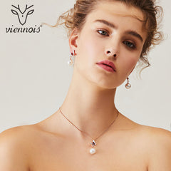 Viennois Simulated Pearl Necklace Set For Women Rose Gold Zinc Alloy Butterly Earring Wedding Paved Bridal Party Jewelry 2019 - Slabiti