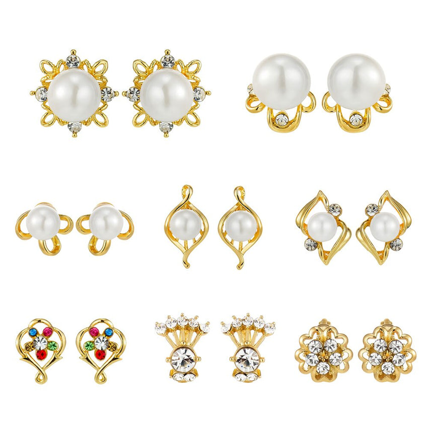 Viennois Simulated Pearl Stud Earrings For Women Eternal Zircon Gold Color Everyday Earring Fashion Jewelry 2019 - Slabiti