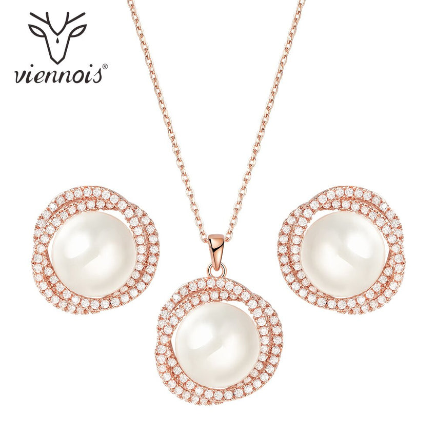 Viennois Stud Earrings Pendent Necklace Jewelry Set For Women Faux Pearl Party Zircon Jewelry Set - Slabiti