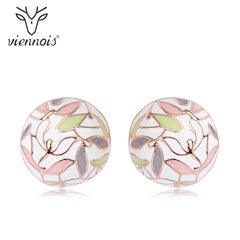 Viennois Stud Earrings for Women Hollow Circle Round Geometric Crystal Earrings Lady - Slabiti