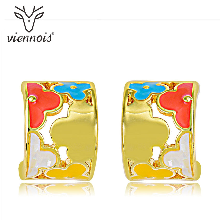 Viennois Stud Earrings for Women Hollow Flower Colorful Geometric Crystal Earrings Lady - Slabiti