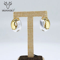Viennois Stud Earrings for Women Mix Color Geometric Crystal Earrings Lady - Slabiti