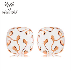 Viennois Stud Earrings for Women Square Geometric Crystal Earrings Lady - Slabiti