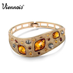 Viennois Vintage Bangles For women Fashion Jewelry Coffee Gold Color Alloy With Top Austrian Rhinestone Orange Crystal - Slabiti