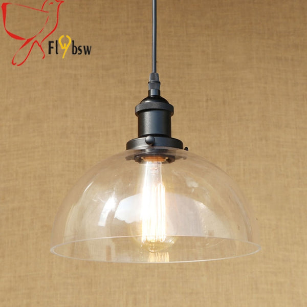 Village style Retro glass pendant lamps dia 25/30cm half round clear glass lampshade hanging light bar restaurants light fixture