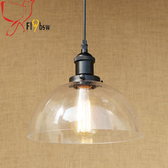 Village style Retro glass pendant lamps dia 25/30cm half round clear glass lampshade hanging light bar restaurants light fixture - Slabiti