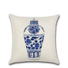 Vintage Chinese Style Cushion Cover Cotton Linen Blue and White Porcelain Pillow Case For Sofa Car Home Decorative Pillows Cases - Slabiti