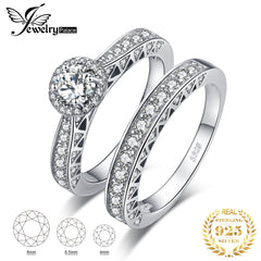 Vintage Engagement Ring Set 925 Sterling Silver Rings for Women Anniversary Wedding Rings Bands Bridal Sets Silver 925 Jewelry - Slabiti