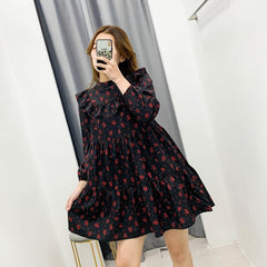Vintage Female Dress Floral Spring Autumn 2020 Casual Dresses Beach Bohemian Ruffle Flounce Dress Vestidos Plus Size - Slabiti