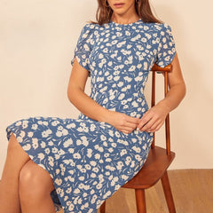 Vintage Floral Print Long Dress Women Boho Short Sleeve Elegant Dress  Summer Chiffon Office Casual Dresses Robe - Slabiti
