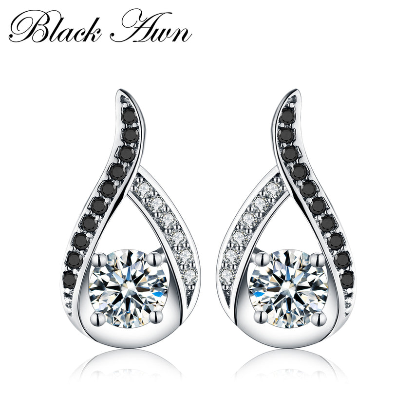 Vintage Genuine 925 Sterling Silver Female Earring Fine Jewelry Water-Drop Engagement Stud Earrings for Women T004 - Slabiti