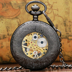 Vintage Luxury Black Metal Mechanical Pocket Watch Steampunk Watches Pin Chain Men Women Pendant Clock Gift With Gift Bag - Slabiti