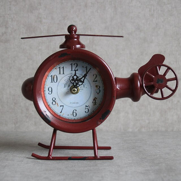 Vintage Wrought Iron Clock Ornaments Home Furnishing TV Creative Living Room Decorative Desk Clock The Old American Country - Slabiti