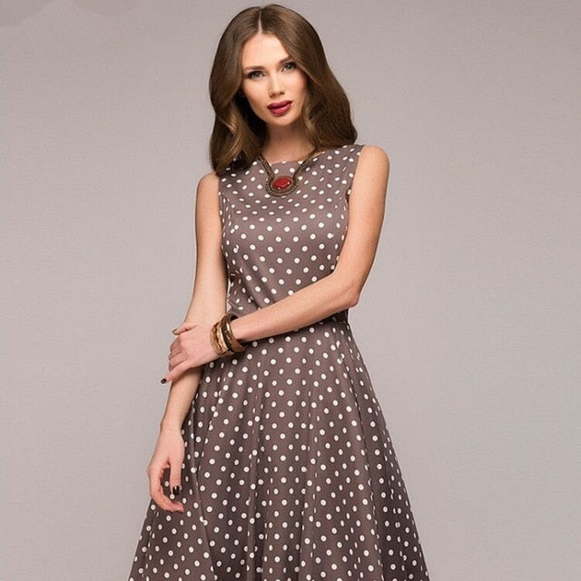 Vintage dress 2019 Summer New sleeveless O-neck vestidos Women elegant thin dot printing Mid-Calf casual dress Female - Slabiti