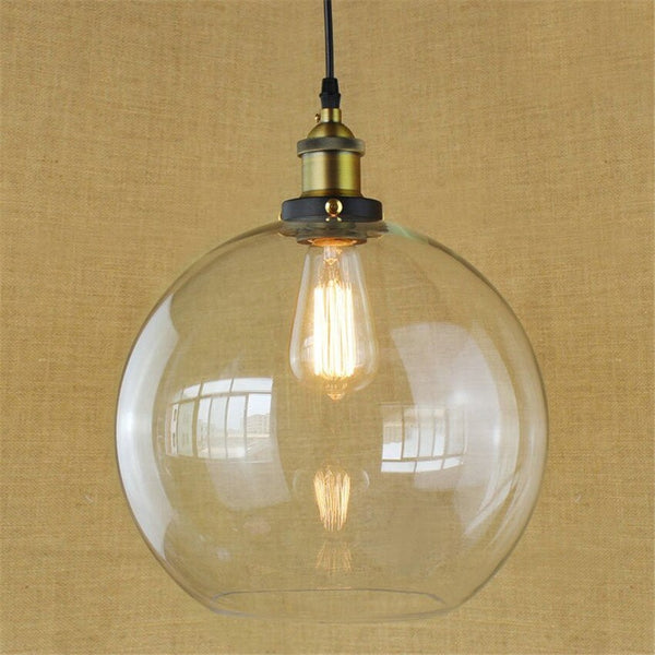 Vintage glass ball hanging lights suspension dia 20 25 30cm clear Glass lampshade modern pendant lamps for restaurants bar cafe
