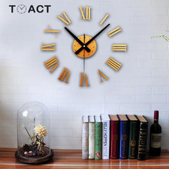 Wall Clock Large Size Wall Clocks Modern Design Sticker 3D DIY Big Watch Luxury For Living Room Home Decor Roman Numerals New - Slabiti