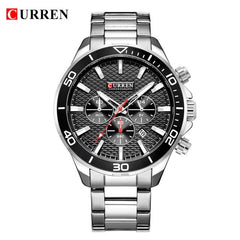 Watches For Men Stainless Steel Band Quartz Wristwatch Fashion Brand CURREN Chronograph and Calendar Male Clock  Reloj Hombre - Slabiti