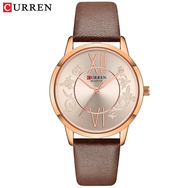 Watches Women 2019 CURREN Fashion Creative Analog Quartz Wrist Watch Reloj Mujer Casual Leather Ladies Clock Female Montre femme - Slabiti