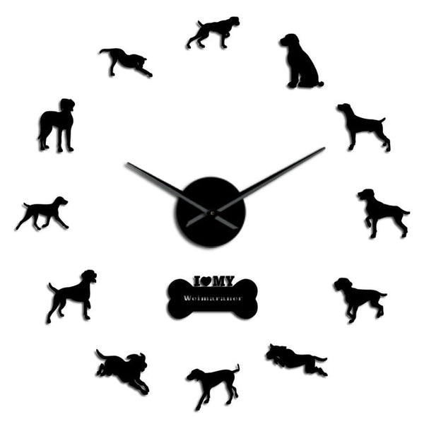 Weimaraner Vorstehhund DIY Large Wall Clock Dog Breed Grey Ghost Home Decor Weim Wall Art Hanging Clock Wall Watch Silent Quartz - Slabiti