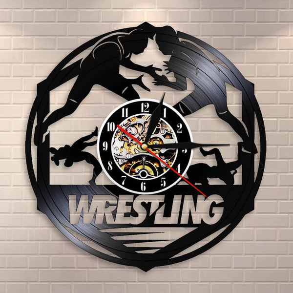Westlers Grappling Freestyle Fight Martial Wall Art Wall Clock Watch Wrestling Combat Sport Vinyl Record Wall Clock Fighter Gift - Slabiti