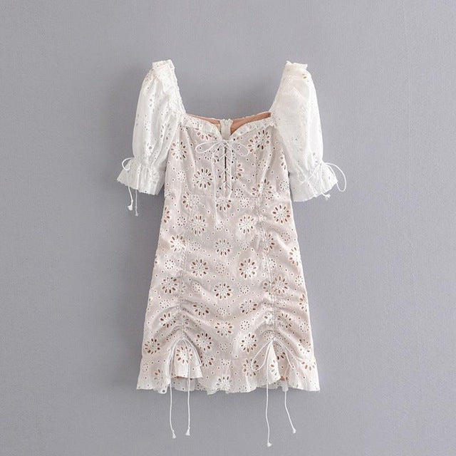 White Lace Women Club Dress Sexy Hip Club Party Dress Sexy Dress Club Mini Sexy Slim Floral Club  Dress A6040 - Slabiti