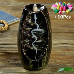 With 10Cones Free Gift Waterfall Incense Burner Ceramic Incense Holder,Option for Mixed Incense Cones (Burner Size L and Size M) - Slabiti