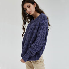 Wixra Knitted Chunky Oversized Sweater Women Loose Solid Thick O-Neck Pullover Jumpers Stylish Tops for Female Autumn Winter - Slabiti