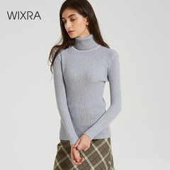 Wixra Women Solid Knitted Sweaters And Pullovers Autumn Winter Turtleneck Basic Pull Must Have Tops Womens Clothing - Slabiti