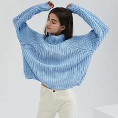 Wixra Women Turtleneck Chunky Oversized Sweater Full Sleeve Women Knit Sweaters Solid Pullover And Jumper 2019 Autumn Winter - Slabiti